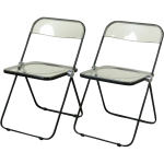 Lucite chairs with clear seating and back features and black metal structure