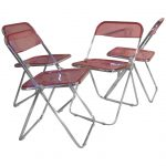Lucite folding chairs with clear-red back and seating features