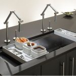 adorable cool nice wonderful amazing fantastic Modern-Sink-with-Double-Faucet and has dark surface design and dark cabinet