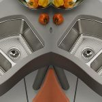 adorable cool nice wonderful modern best kitchen sink with metal made design with double concept and has silver nuance