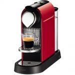 adorable nice cheap simple large coffee maker with red concept coloring body design with small glass tand with nice design