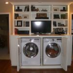 Adorable Nice Mdoern Cool Wonderful Attractive V With Double Machine And Compact Cabinet With Shelf 728x546