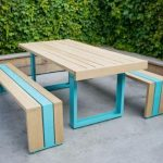 adorable nice wonderful cool amazing creative cool picnic table with white-oak-table-scout-made of wooden with blue color design