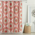 aesthetic  red patterns in shower drape with stainless steel drape rod a modern white tub a rattan basket for towel and bath-supplies