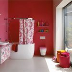 alluring red bathroom with unique small bathtub also ravishing pink white curtain with floating vanities in laminate flooring