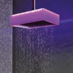 amazing cool modern futuristic ceiling-mounted-overhead-shower-chromotherapy-ponsi-colore with wode square cube desing with nice pink lighting