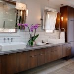 amazing nice modern cool adorable  bathroom remodel mid centrury with long vanity concept design and has double miroor