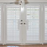 amazing nice wonderful cool adorable  shutter for french door with Basswood-Fold-Indoor-Window-Shutters-for-French-Door with side light window design