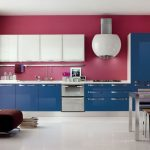 amazing nice wonderful cool creative nice amazing modern kitchen cabinet with kitchen-cabinet-doors-ideas with blue accent design and red wall concept