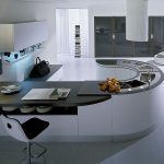 amazing nice wonderful cool futuristic awesome modern kitchen cabinet with modern-kitchen-cabinetry design and has curved bar table kitchen design