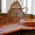artistic half-way tiles for kitchen backsplash  a unique sink with elegant faucet
