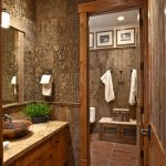 bathroom design in rustic theme hardwood bathroom vanity with copper sink and faucet large brown ceramic tiles floor tiles looks like hard-skin-tree for wall