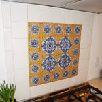 beautiful pattern spanish tiles backsplash in the kitchen