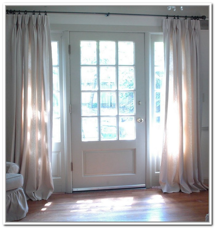 Beautiful White From Floor To Ceiling Curtain For Sidelight Windows An Elegant Door With Transpa