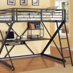 black metal structure loft bed furniture with minimalist desk  mini bookshelf laminated-planks wood floors several uncolored- pictures with black frames
