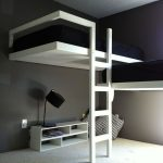 black-white theme loft double-bed furniture with lower and minimalist desk and shelf  minimalist raeding lamp with black cap