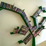 Bright Green Tree Shape Bookcase With Full Of Book Collections
