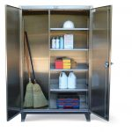 broom two-door panels storage with shelves for cleaning supplies and