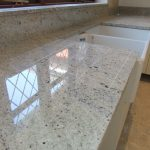 cashmere white granite countertop with double square deep sinks in white