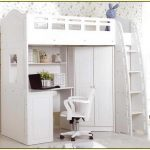 casual white loft bed with desk and cupboard portable chair floating bookcase beautiful wallpaper installation