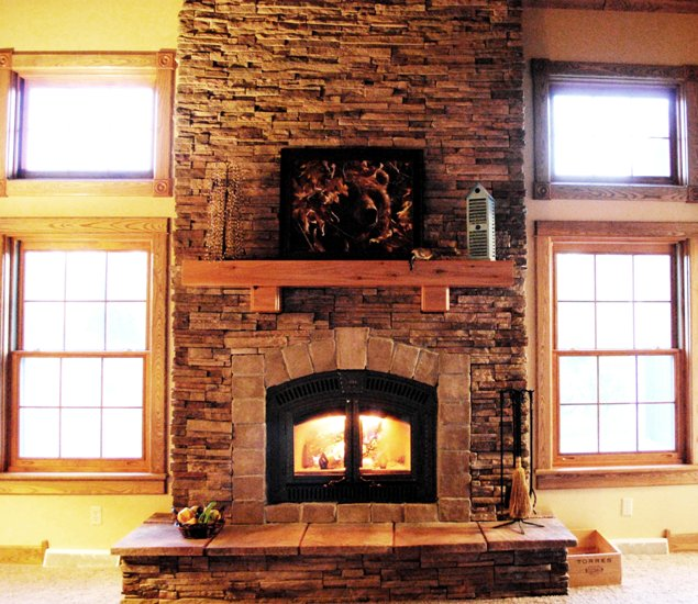 Cedar Fireplace Mantel With An Abstract Painting A Gas Building Bricks Material Construction