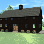 Classic Cool Amazing Small Traditional Barn House Design With Black Accent Wall Concept Made Of Wood With Large Field With Green Grass
