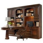 classic wall unit with table and under and top cabinetry system silver-cap table lamp a classic chair in wood material