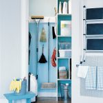 cleaning tools organizer with shelves in blue color