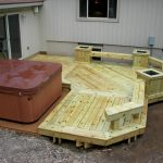 closed-hot spa feature in backyard deck which is built from wood planks material