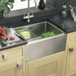 cool adorable nice wonderful fantastic best kitchen sink with metal design concet with black surface design and has wooden cabinet