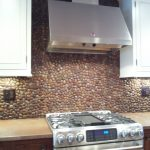 cool amazing nice wonderful fantastic river rock backsplash with creative design with small rock concept for modern kitchen