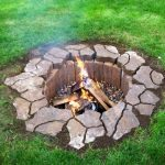cool diy nice adorable wonderful creative in-ground-fire-pit with classic stone design with small brick wall concept