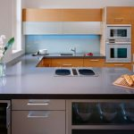 Cool Wonderful Awesome Nice Adorable Fantastic Acrylic Backsplash  With Blue Color Design And Small Concept With Modern Kitchen Island