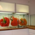 Cool Wonderful Beautiful Nice Adorable Acrylic Backsplash With Garlic Pictre Concept Design In Red Color With Green Accent
