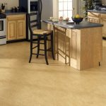 Cork Floor For Kitchen Simple Casual Kitchen Set In Wood Material Kitchen Island With Grey Laminate Marble Top Kitchen Island Single Chair With Black Tone Legs And Back Feature  Electric Kitchen Appliance