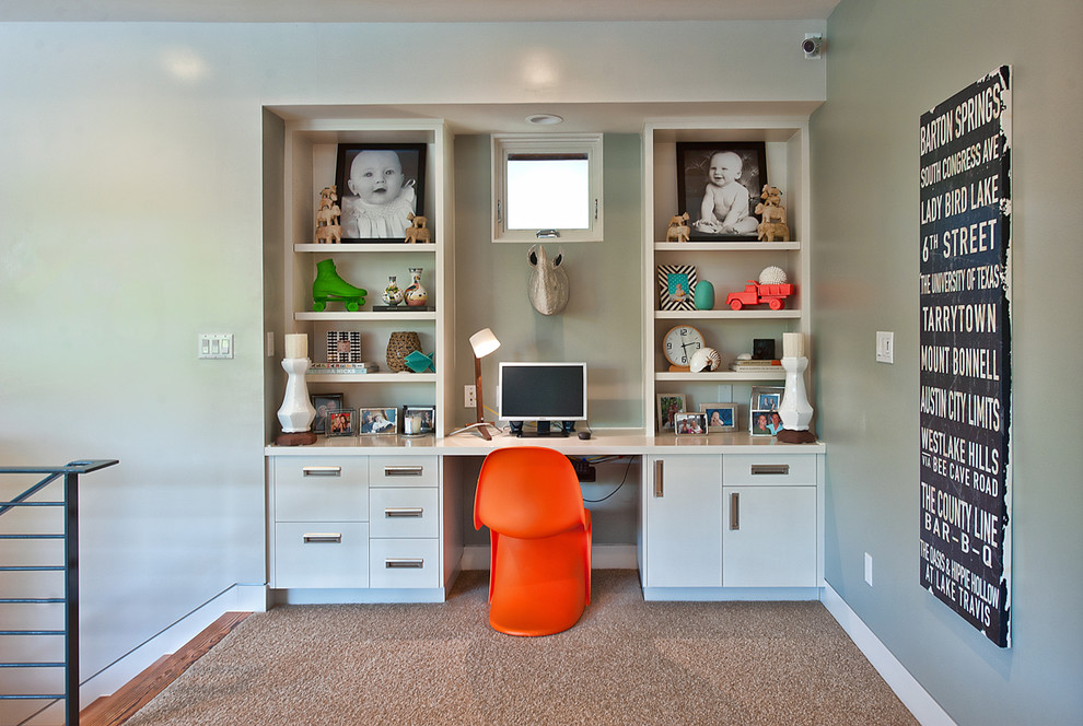 Corner Wall Shelves Unit With Desk In The Center And Under Cabinetry Two Size