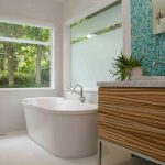 creative nice wonderful amazing fantastic bathroom remodel mid centrury with white and green accent and has deep bathtub design and large window