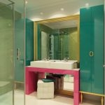 cute pink and turquoise wall panel also wonderful gold shade with white washing stand in laminate flooring