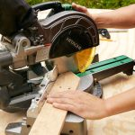 cutting the board based on pattern by using miter saw