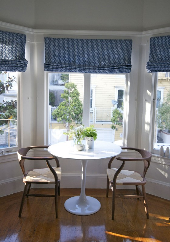 Darker Blue Up Down Sliding Roman Window Shades For Bay Casual Arm Chairs