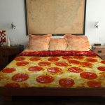 delish-pizza bed cover idea a large map decoration rustic bedside tables twin mini wall-lighting fixtures