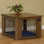 dog crate table with solid wood top and base and also wires  for door and wall thin blue mattress  a beautiful wood pot and plant decoration solid wood floor idea