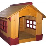 dog house with wide door and windows feature made from hardwood material