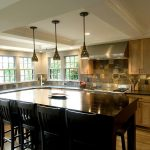 elegant and beautiful pendant lamp large dark wood dining furniture kitchen set in wood material glossy laminate wood finish floor