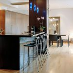 elegant barstools with thin and high metal legs breakfast bar set with beautiful blue pendant light fixtures