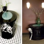 Elegant Black Dog House End Round Table With Beautiful Vase Ornament And Plant Ornament
