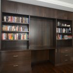 extra big size dark wood wall shelving unit with center desk and under cabinet systems many books collections