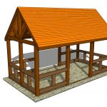 fantastic cool adorable nice 3d illustration of Outdoor-pavilion-plansn with small concept and has orange roofing design idea