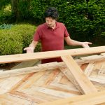 fit the patterned boards on similar patterned boards which have been glued  before