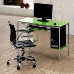 fresh green slim desk in metal material a movable black chair wood planks floor with clear lines